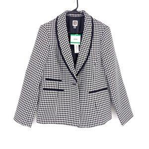 Anne Klein women's one button black/white  blazer